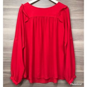 LOFT Ruffle Sleeve Red Blouse
